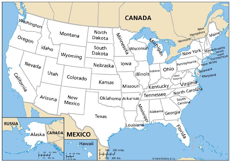 штаты США карта